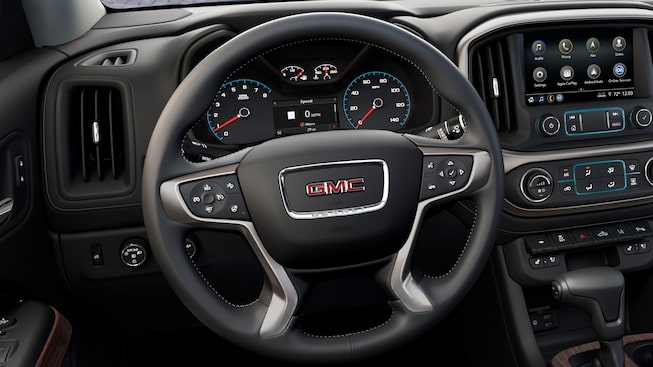 2019 Canyon Denali's leather-wrapped steering wheel.