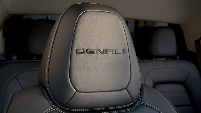 The 2019 Canyon Denali's embroidered headrest.