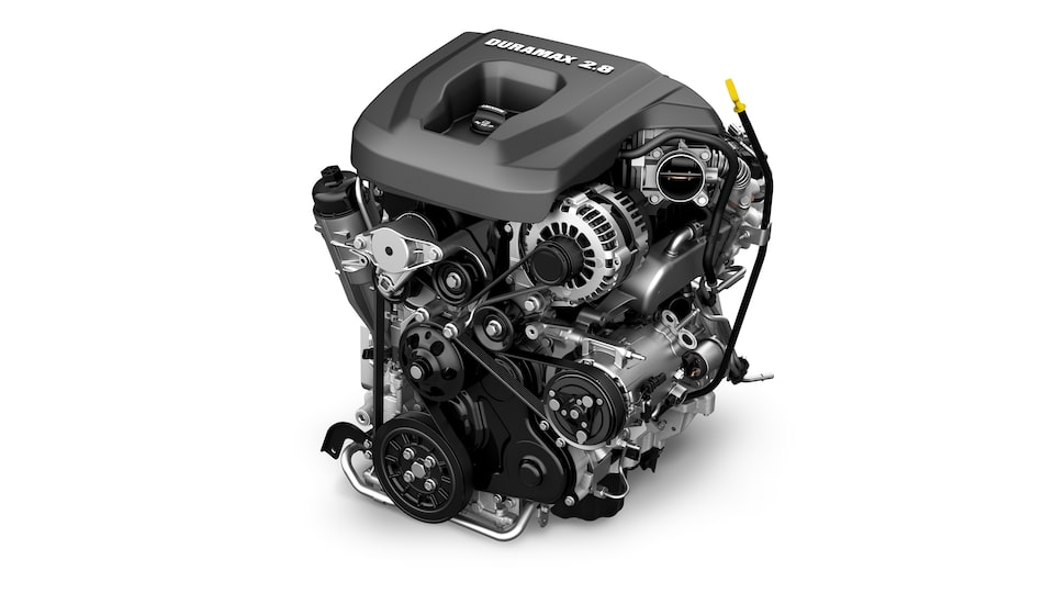 The GMC Canyon 2.8L Duramax Turbo Diesel engine.