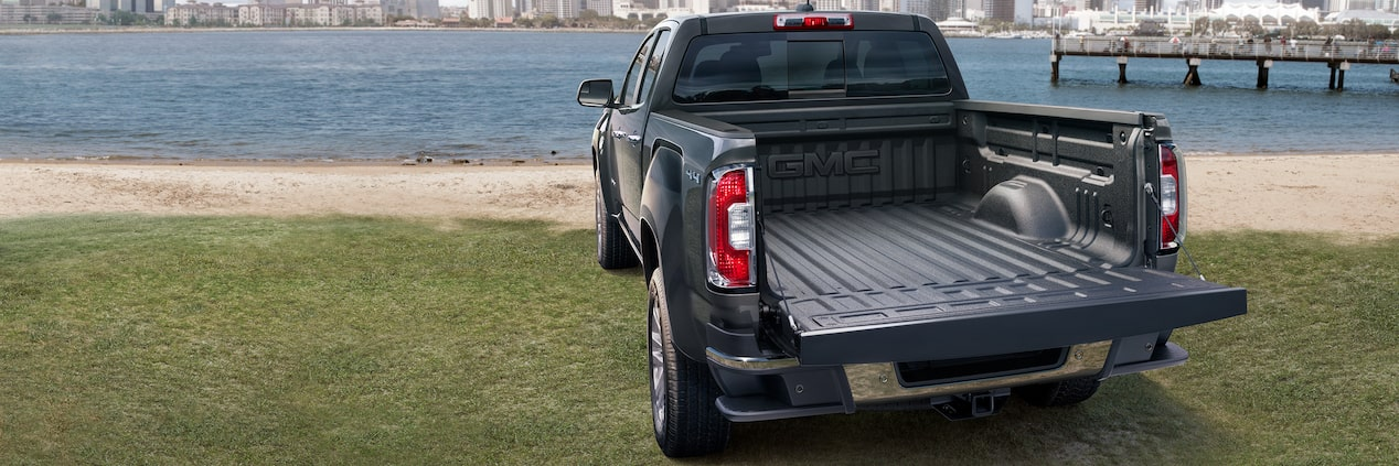 The 2019 Canyon mid-size pickup truck with available spray-on bedliner.