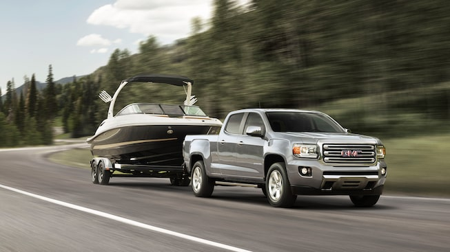 The towing capability of the 2019 GMC Canyon mid-size pickup truck.