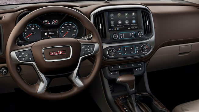 2019 GMC Canyon mid-size pickup truck's interior front dash.