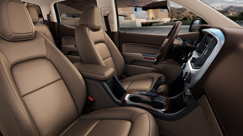 Front seats inside the 2019 GMC Canyon mid-size pickup truck.