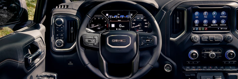 Interior of the 2019 Sierra's front dashboard.