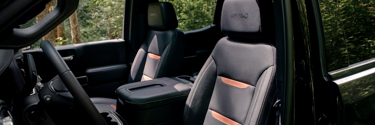Interior side profile of the 2019 GMC Sierra AT4's premium comfort seating.