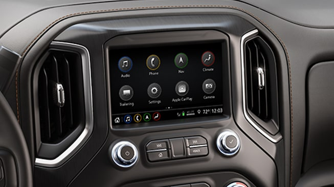 2019 Sierra interior: available GMC Infotainment System with Navigation and 8-inch diagonal touch-screen.