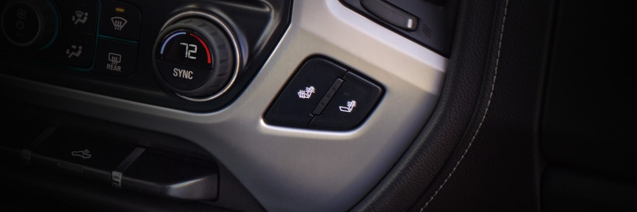 Heated seats controls for the Sierra 1500 Limited light-duty pickup truck.