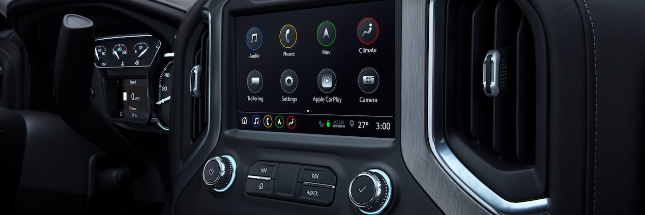 Connectivity features of the 2019 GMC Sierra 1500 light-duty pickup truck.