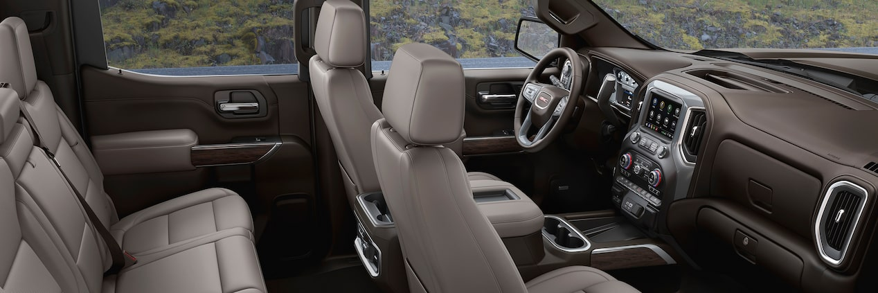 GMC Sierra 1500's available heated front seats and leather-appointed seating with perforated inserts.