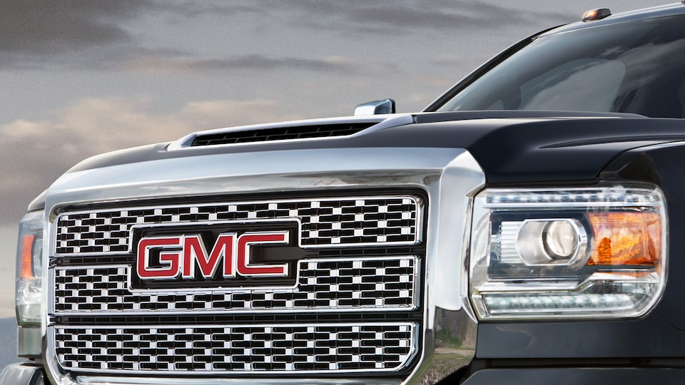 GMC Sierra Denali HD with available diesel hood scoop induction system.