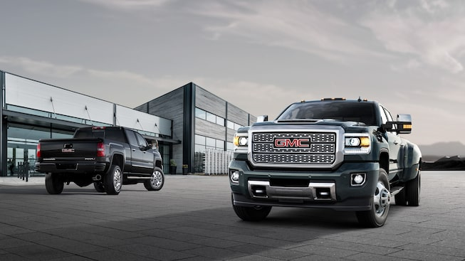 Front and rear exterior profile of the GMC Sierra Denali HD.