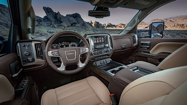 Interior of the 2019 GMC Sierra Denali HD heavy-duty truck.