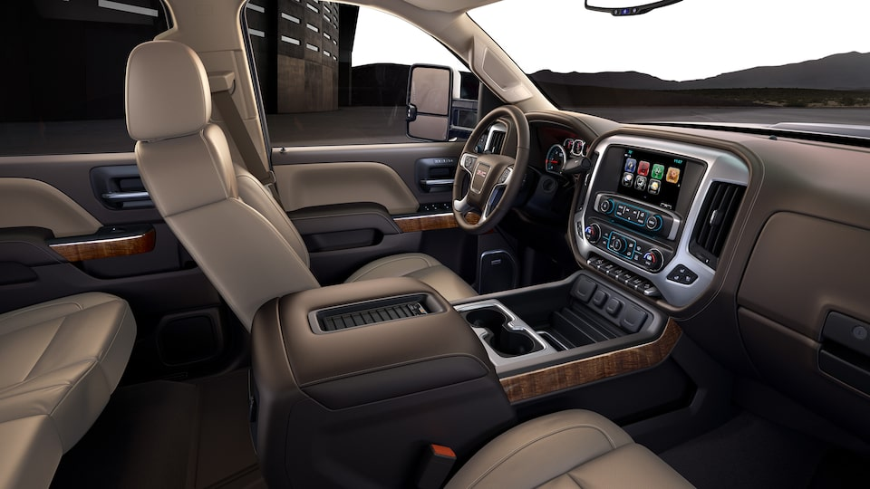 GMC Sierra HD's available heated and ventilated perforated leather-appointed front bucket seats.
