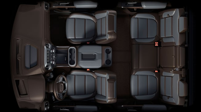 2020 GMC Sierra 1500 Denali Light-Duty Pickup Truck Interior Class Leading Interior Aerial View.