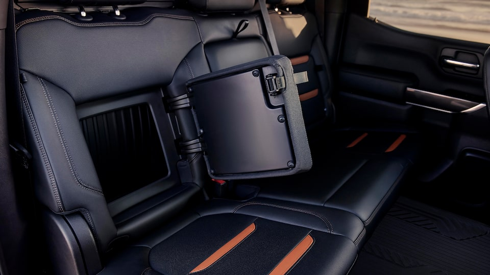 2020 Sierra AT4 Rear Seat Cargo Space.