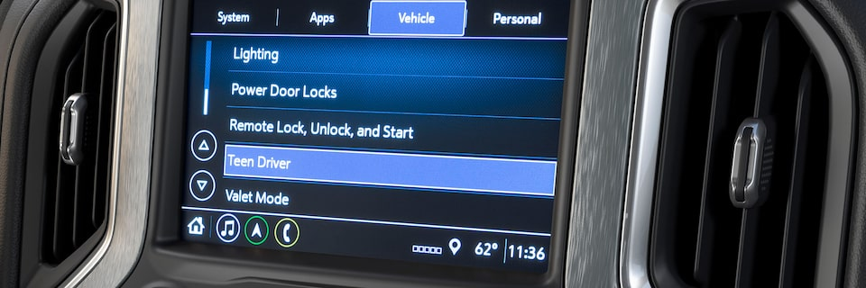 GMC Sierra AT4 Pickup Truck: Infotainment System Featuring Teen Driver.