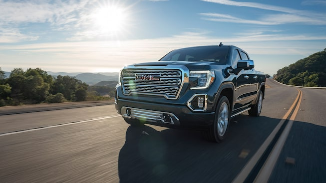 2020 GMC Sierra 1500 Denali Light-Duty Pickup Truck Front Angle.