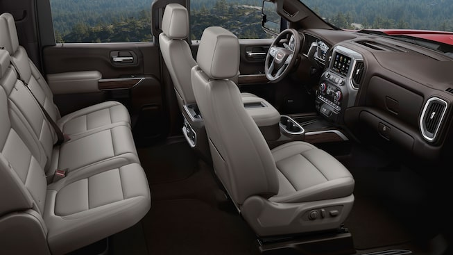 2020 GMC Sierra Heavy Duty Pickup Truck: Interior Two Rows Of Seating In Cabin.