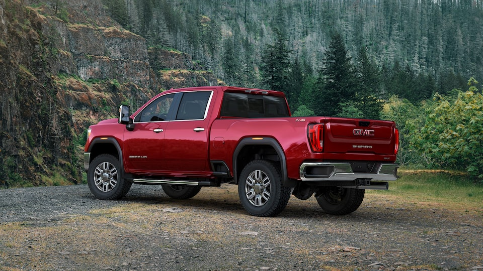 2020 Sierra Heavy Duty Pickup Truck: Rear Corner View.