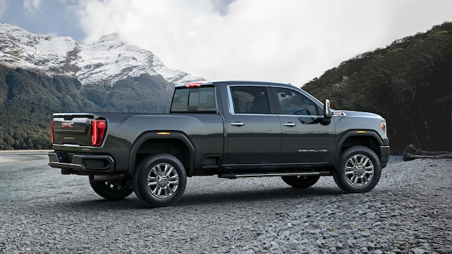 The 2020 GMC Sierra Denali Heavy Duty in Carbon Black Metallic.