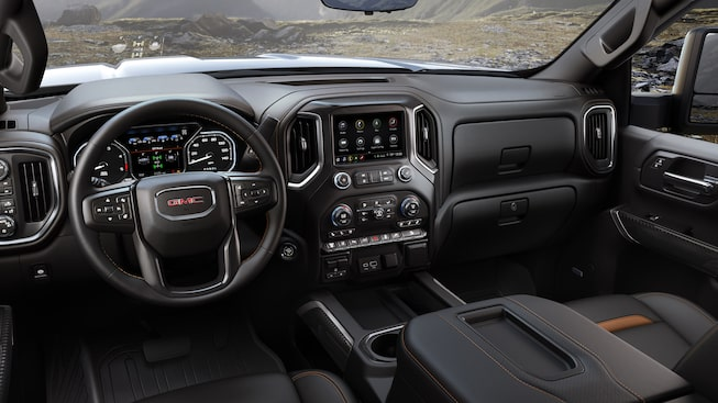 Interior of the 2020 GMC Sierra HD AT4 pickup truck.