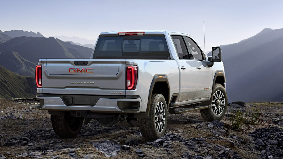 Rear exterior view of the Next Generation GMC Sierra Heavy Duty AT4.