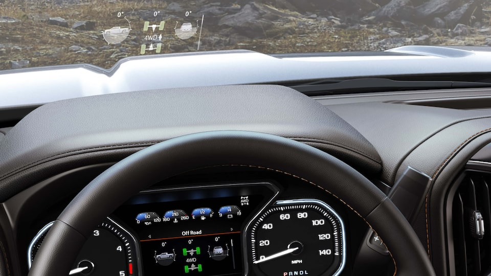 The Next Generation GMC Sierra HD's available 15-inch head-up display.