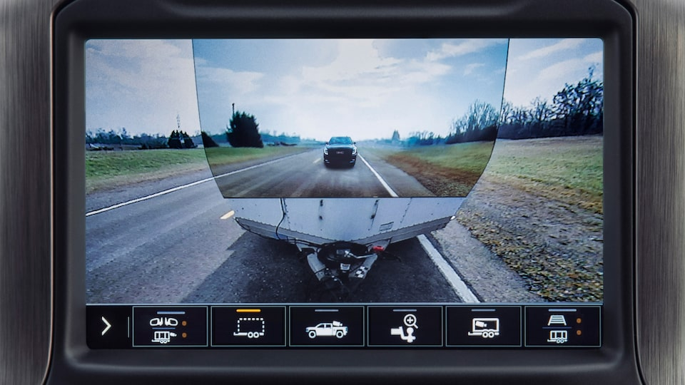 The Next Generation Sierra Heavy Duty pickup truck's transparent trailer view camera.