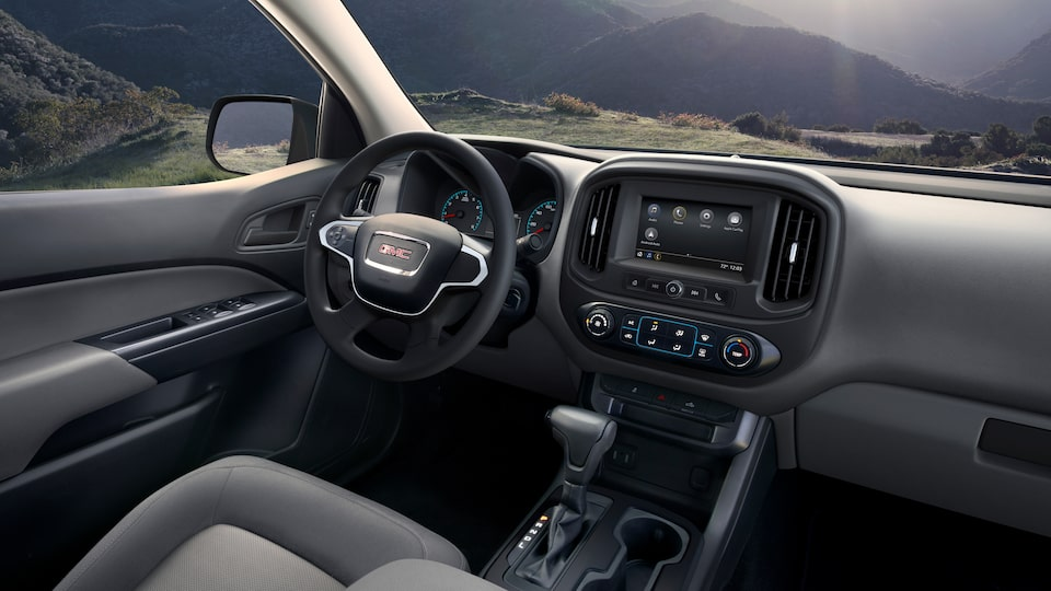 2021 Canyon Interior featuring the steering wheel and infotainment system.