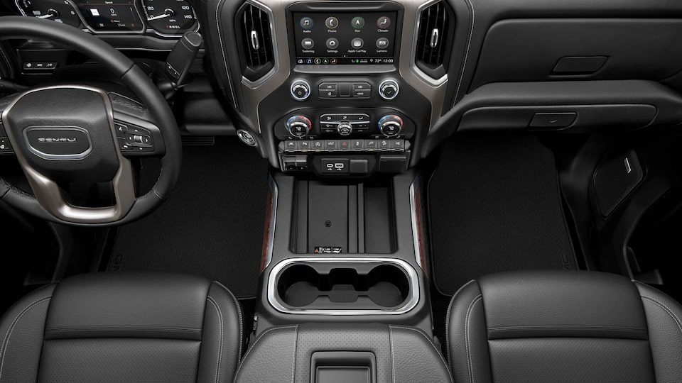 2021 GMC Sierra 1500 interior front seats and dashboard.