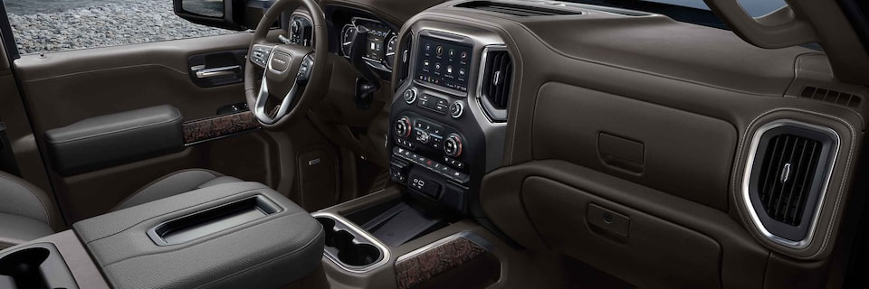 2021 Sierra HD interior featuring the dashboard and center console.