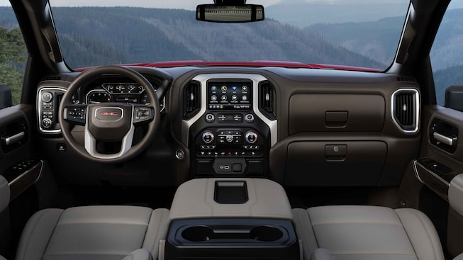 2021 Sierra HD SLE/SLT front interior featuring the dashboard.