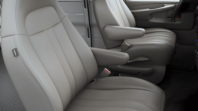 GMC Savana Cargo interior features front and side airbags.