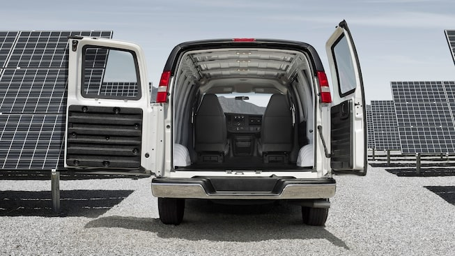 The 2019 GMC Savana interior features medium pewter cloth seating.