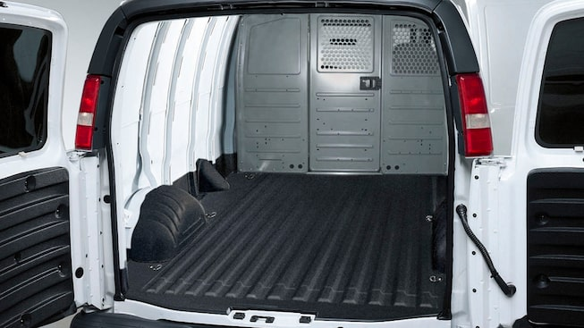 2019 GMC Savana Cargo full-size van interior is available with spray-in cargo liner.