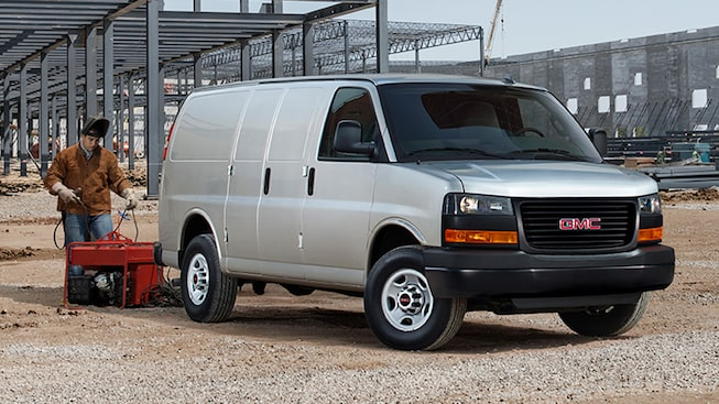 2019 GMC Savana Cargo Van swing-out passenger side door.