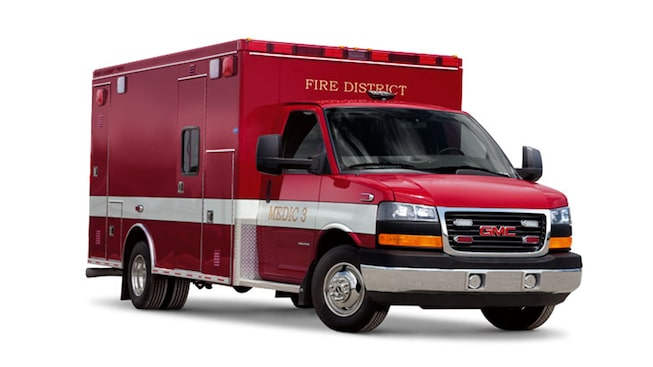 2019 GMC Savanna Cutaway with ambulance body upfit.