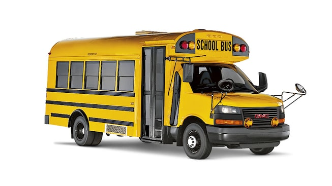 2019 GMC Savanna Cutaway with school bus upfit.