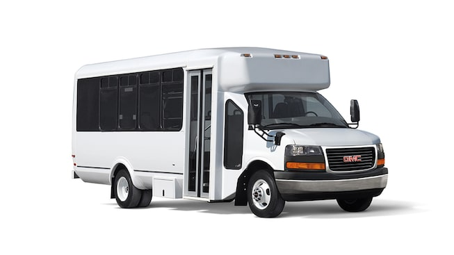 2019 GMC Savanna Cutaway with shuttle bus upfit.