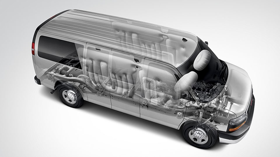 GMC Savana Passenger Van's front and side airbags.