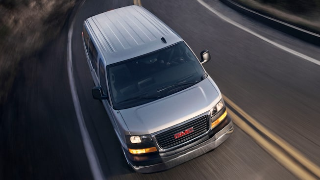 The 2019 GMC Savana Passenger Van with StabiliTrak Stability Control System.