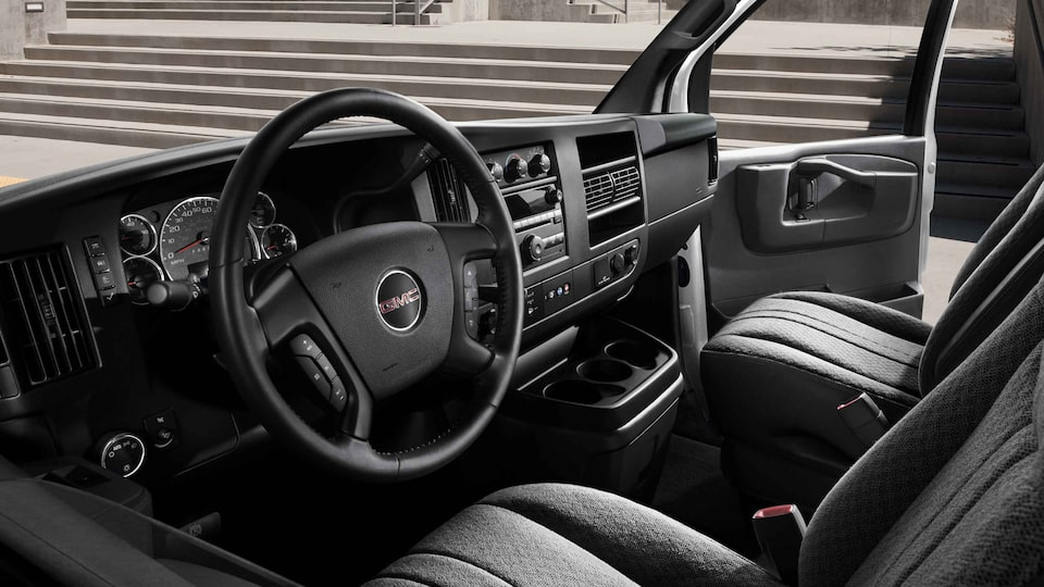 2021 GMC Savana Cargo dashboard and steering wheel.