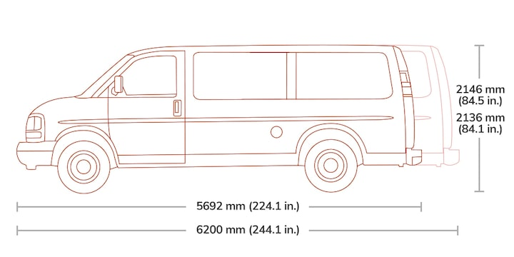 Spec Diagram of 2019  GMC Savana Cargo 3500.