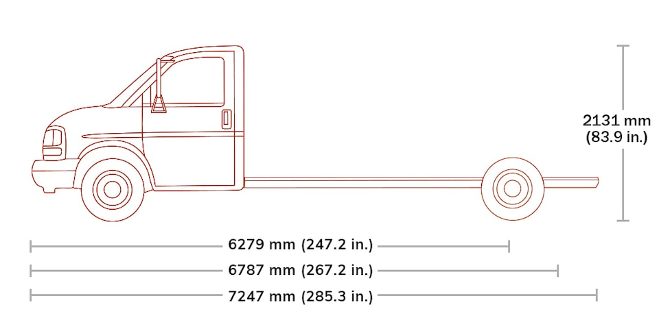 Spec Diagram of 2020  GMC Savana Cutaway 3500.