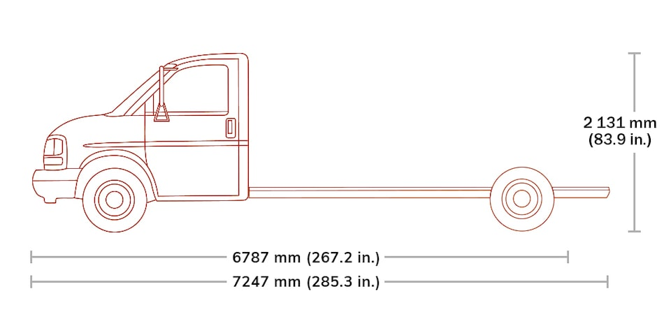 Spec Diagram of 2020  GMC Savana Cutaway 4500.