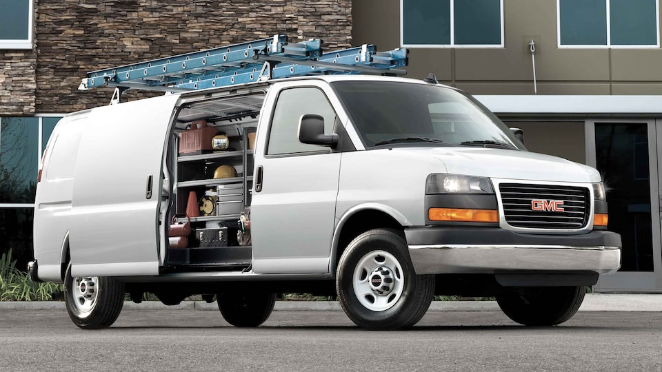2021 GMC Savana Cargo commercial van equipped with accessories.