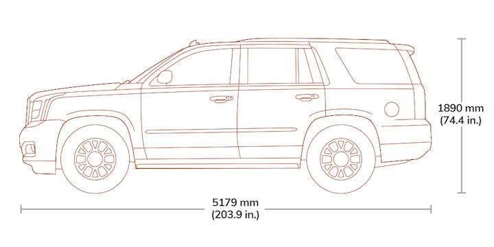 Length and height specs diagram of the 2019 GMC Yukon.