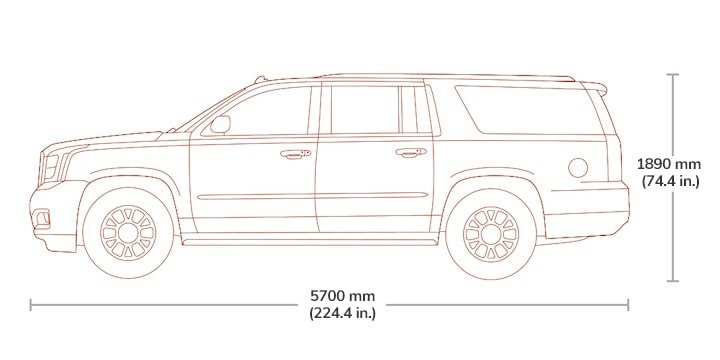 Length and height specs diagram of the 2019 GMC Yukon XL.