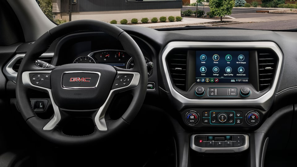 2020 Acadia Mid-Size SUV: Steering Wheel & Infotainment System.