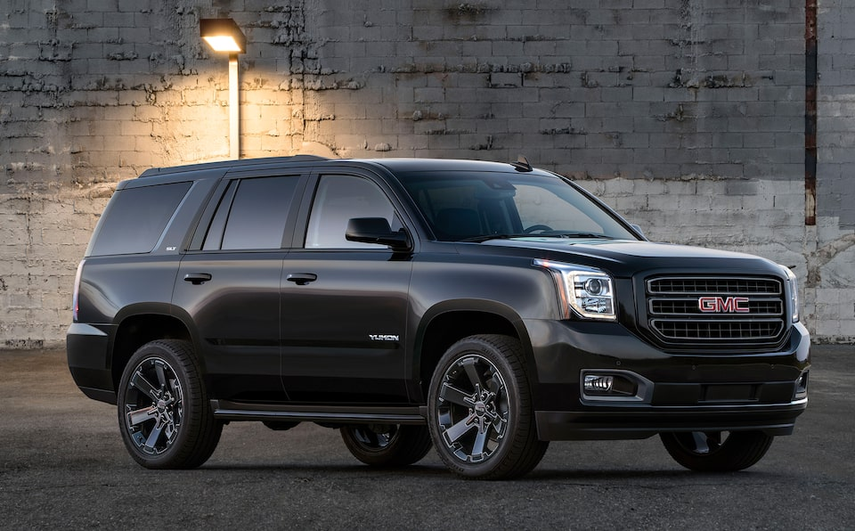 GMC Yukon SLE/SLT full-size SUV Graphite Performance Edition Front Angle Full